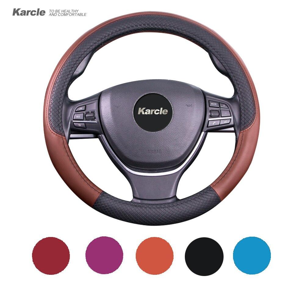 Karcle 38 cm volante cubierta del volante de cuero de microfibra Tapas piel antideslizante sensación Car-Cover car-styling Accesorios
