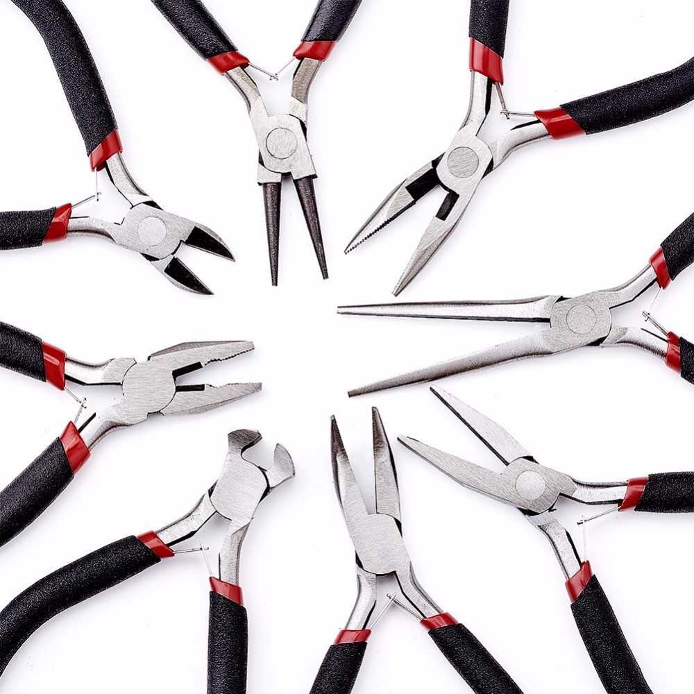 8pcs/set Beading Jewelry Tools Kit Equipment Plier Sets Ferronickel Carbon-hardened Steel Cutting Joint Pliers