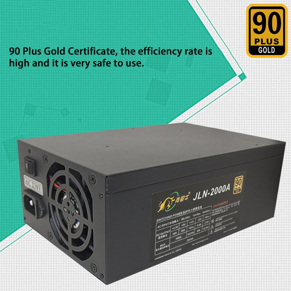 Miner Power Supply 2000A Output 2000W 12V PSU Miner Mining Chassis Power Supply for Ethereum with 16 6+2 Pin Graphics Interface