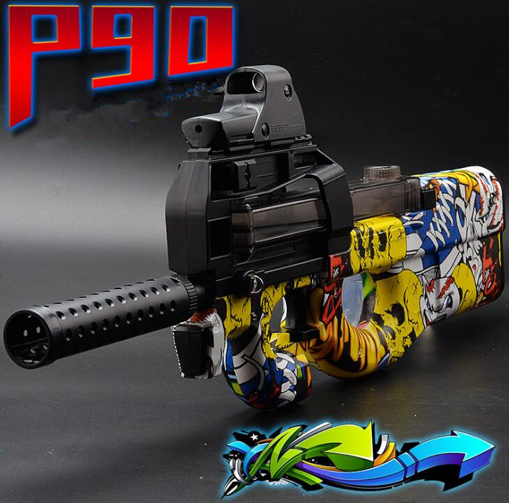 P90 Electric Toy Gun Graffiti Edition Live CS Assault Snipe Weapon Soft Water Bullet Bursts Gun Funny Outdoors Toys For Kid funny kid for president