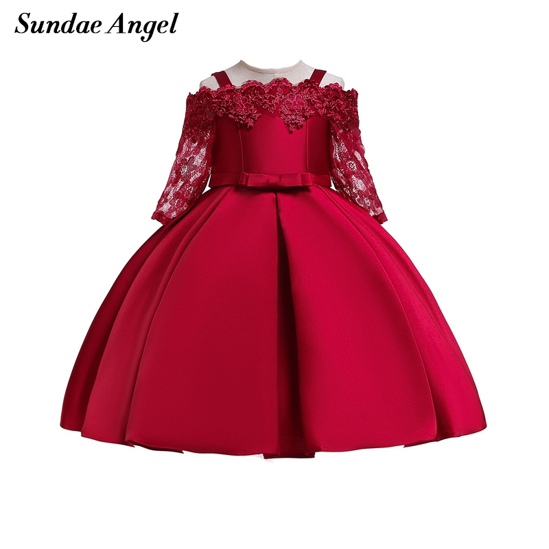 Sundae Angel Girls Bridesmaid Pageant Dresses Lace Sleeve Shoulderless Princess Dress Girls Party Voile Wedding Formal Dress
