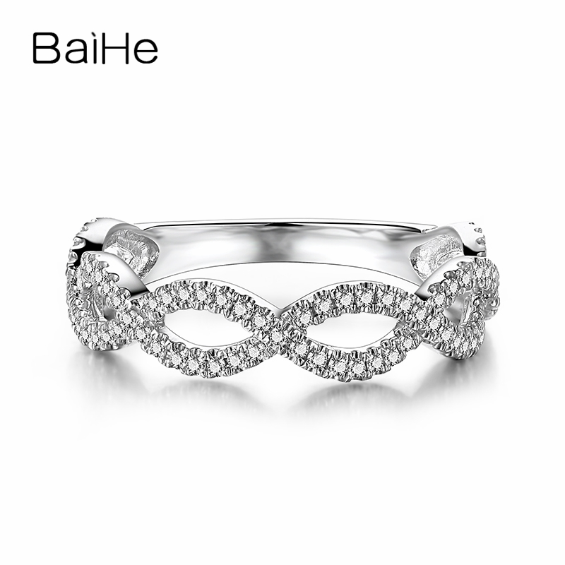 BAIHE Solid 18k White Gold(AU750) 0.33ct SI/H Round cut 100% Natural Diamonds Engagement Band Women Fine jewelry Gift Ring      BAIHE Solid 18k White Gold(AU750) 0.33ct SI/H Round cut 100% Natural Diamonds Engagement Band Women Fine jewelry Gift Ring