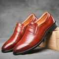 2017 Novos Homens de Vestido De Couro de Negócios Britânico dos Homens Oxfords Sapatos de Casamento Sapatos Sapatos Casuais Deslizar sobre Respirável Zapatos Hombre 2A