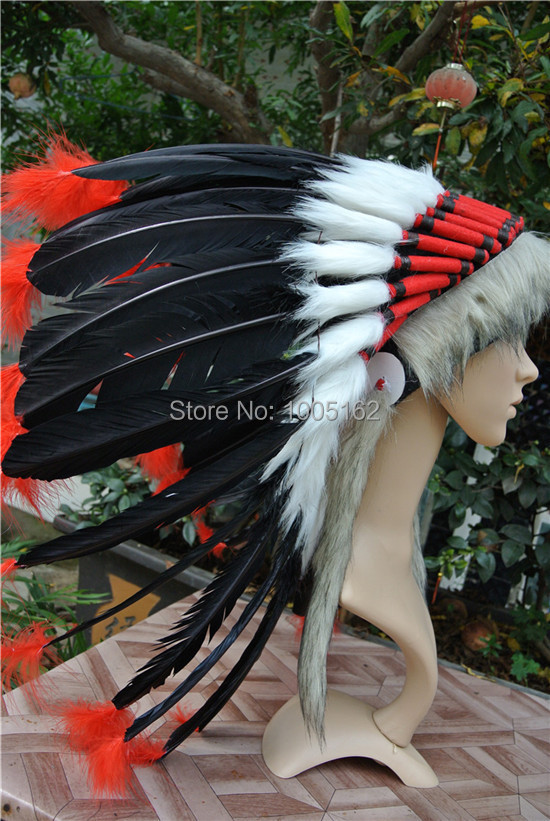 Black and red handmade feather Headdress Goose feather headdress headdress costumes