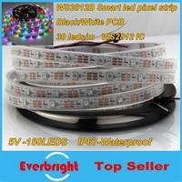 5M 30Pixel/M White/Black PCB LED Pixels Strips Light RGB WS2812B WS2812 IC 150leds Dream Color Waterproof IP67 + RF Controller