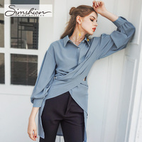 Simshion 2017 Women Fashion Chiffon Blouse Shirts Casual Long Sleeve Button Solid Shirts Light Blue Beige
