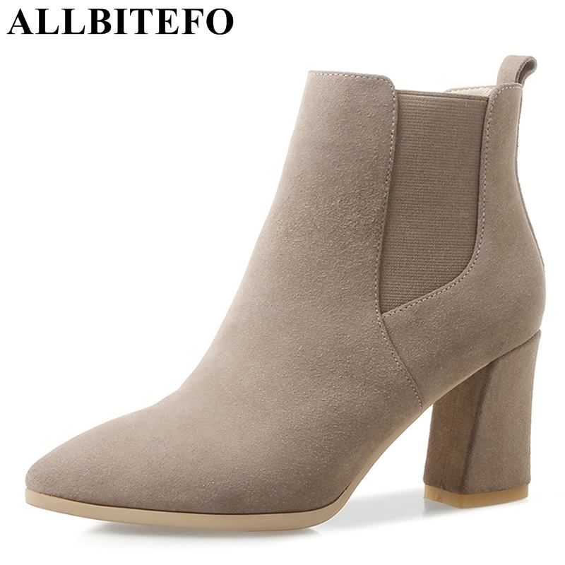 ALLBITEFO new fashion brand natural genuine leather pointed toe women high heel shoes ankle boots winter