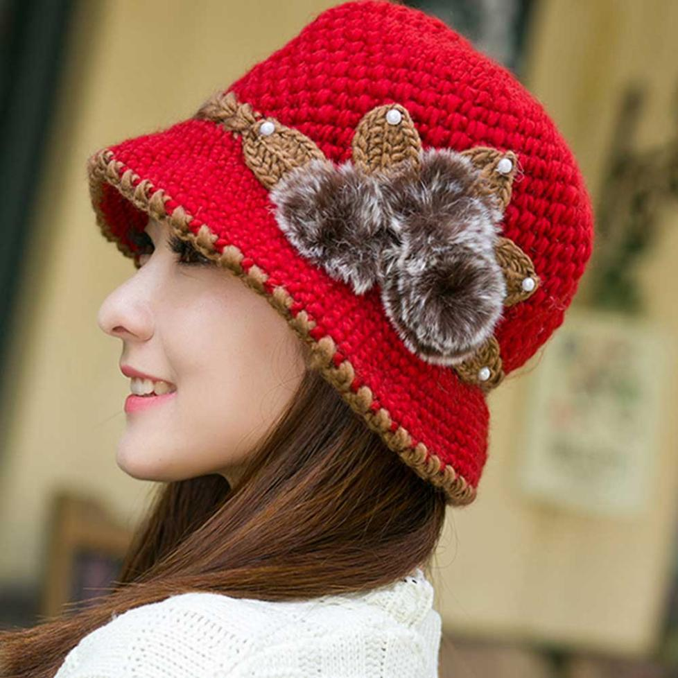 Women Lady Winter Warm Crochet wool ball   skullies   Knitted Flowers Ears Hat cute   beanie   hat female cappello donna invernale NEW