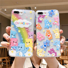 Funny Cartoon Lovely Care Bears Case for iPhone 6 6s 7 8 Plus X XR XS Max Phone Back Silicon Cover Clear Cases