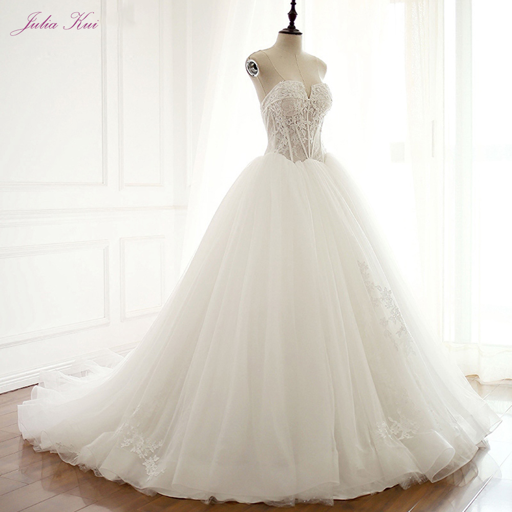 Julia Kui Elegant Tulle Ivory Color A Line Wedding Dress With Court Train Of Strapless Wedding