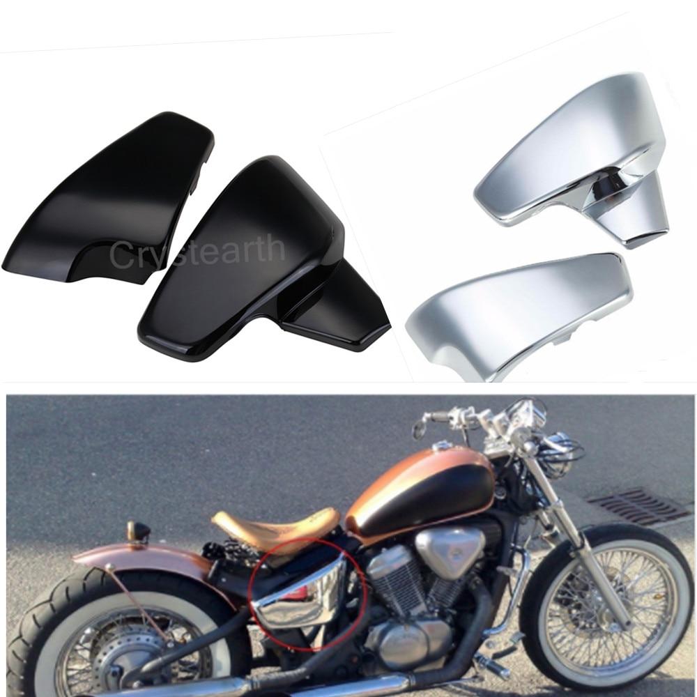 Pour Honda VT600 VT 600 C CD (Ombre VLX Deluxe) 1999-2007/VLX600 VLX 600 1999-2008 Chrome Noir Moto Côté Couvercle de La Batterie