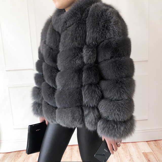 100% true fur coat Women's warm and stylish natural fox fur jacket vest Stand collar long sleeve leather coat Natural fur coats 2