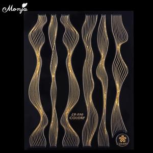 Image 4 - Monja Nagel Kunst Aufkleber Laser Gold Metall Streifen Welle Linie Band Self Adhesive Transfer Folien 3D DIY Aufkleber Maniküre tipps Dekoration