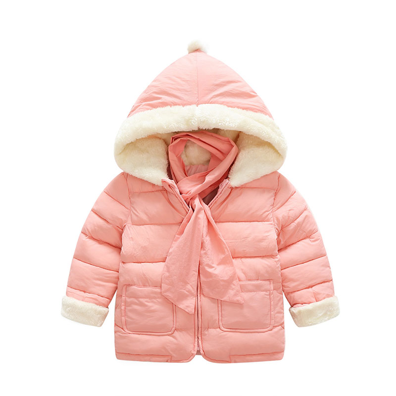 Baby Girls Coats 12-24M Hooded Jacket Faux Fur Trim Cotton Parka Free Gift Scarf Pink Outerwear Pink Winter Clothing Snow Wear 2017 new luxury faux fur coats fashion winter jacket for girls baby clothes parka elegant clothing little girl outerwear coat