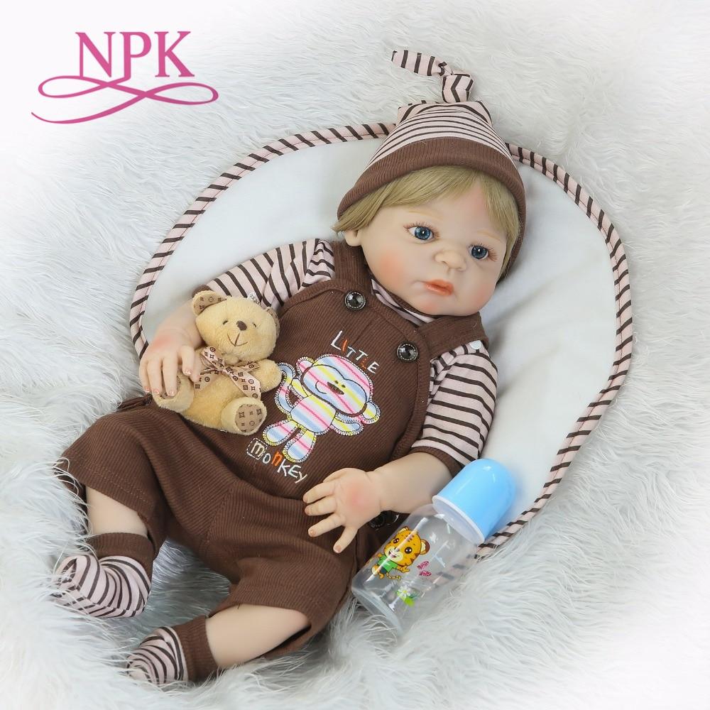 NPK 57CM silicone Reborn Baby Dolls Full silicone Vinyl Body boneca reborn completa doll Christmas DIY