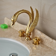 wholesale and retail brand new modern luxury golden brass bathroom faucet swan spout vanity sink mixer tap