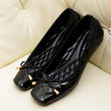 Jiasuer New Arrival Patent Leather Flat Women Ballet Flats Shoes Women Plus Size 41 Black Square Toe Bowtie Shoes Black For Lady