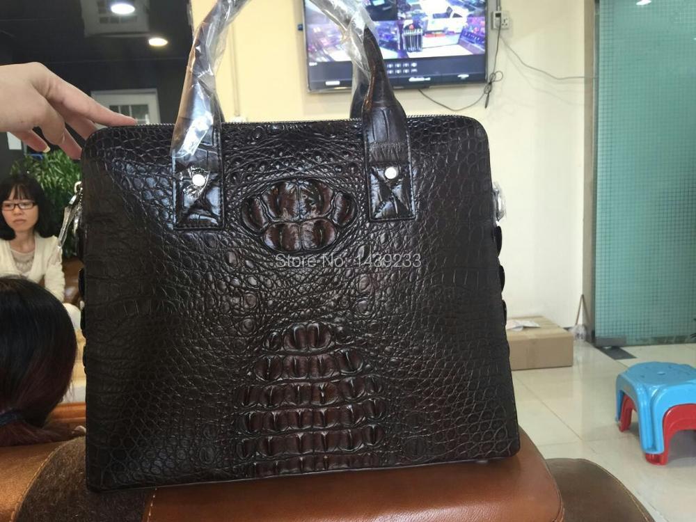 100% Genuine Alligator Skin Men Business Bag Big Brown Discount Sales Promotion, Crocodile Leather Skin Briefcase Men Laptop Bag