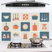 Creative Simple Waterproof Aluminum Foil Heat Resistant Oil-proof Kitchen Tile Wall Sticker Kitchenware Cartoon Stickers Decor