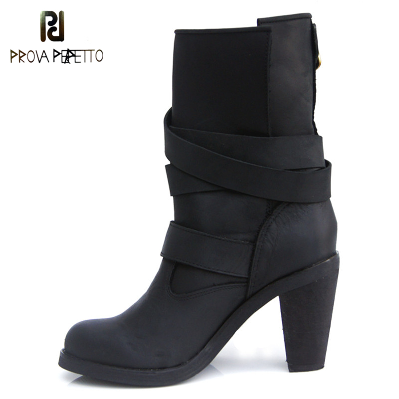 Prova Perfetto Narrow Band Mature Design Genuine Leather Boots Woman Metal Buckle Chunky Heel Martin Boot Plush In Winter Shoes