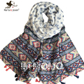 Ethnic Style Geometric Stripe Wrap and Shawl for Women ObLong Fringed Scarf for Girls Outdoor Casual Foulard and Bandana