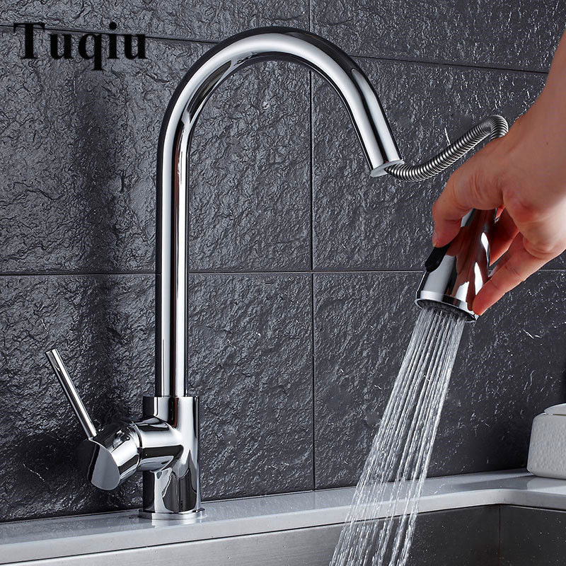 Kitchen Faucet Chrome/Nickel Brushed Pull Out Brass Kitchen Faucet Single Handle Sink Mixer Tap Hot Cold Deck Mounted Water Tap цена 2017