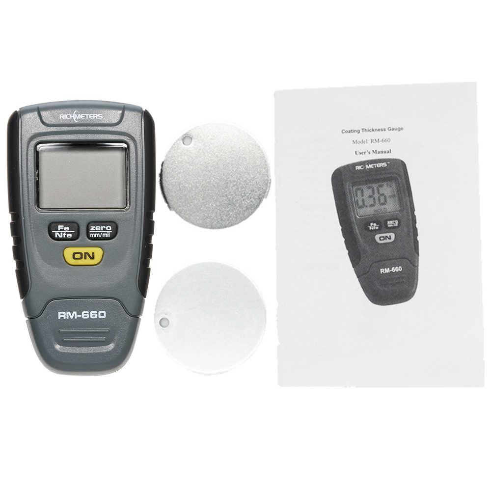 RM660 Độ Dày Máy Đo Sơn Tester Kỹ Thuật Số tự động Lớp Phủ Sơn Fe/NFe 0-1.25mm cho Cụ Xe Sắt nhôm Cơ Sở Kim Loại