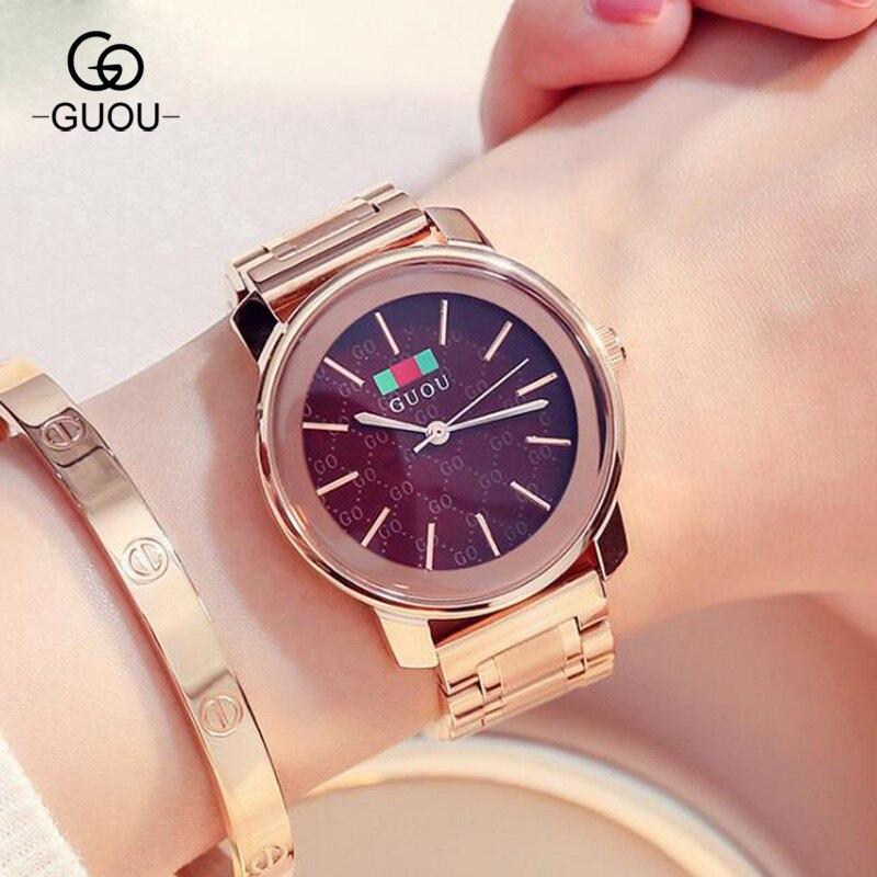 Montre de luxe GUOU or Rose femme Hardlex verre acier inoxydable bande robe Quartz montre-bracelet reloj relogio noir violet