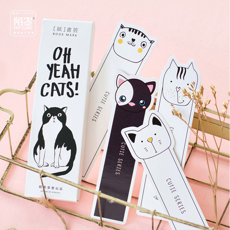 30pcs/pack Kawaii Cute Oh Yeah Cats Paper Bookmark Decorative Craft Marker of Page Stationery Gift Film Stick Label