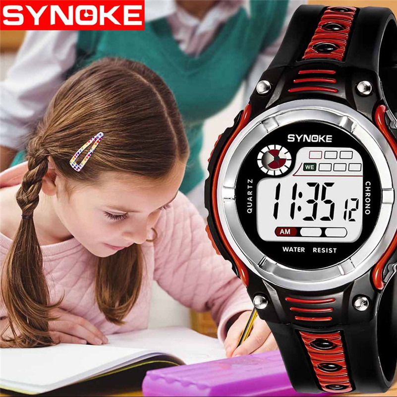 Student Boys Girls Watches Casual Two-color Large Screen Watches Fashion LED Digital Children Wrist Watch Electronic Clock /DD