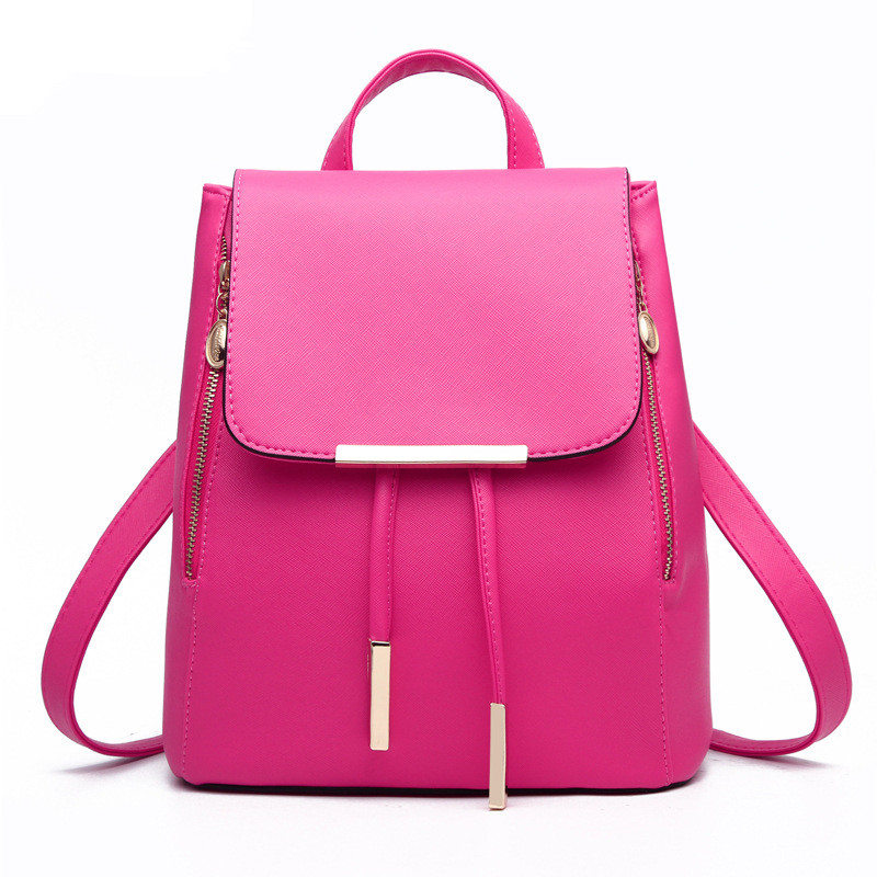 Fuchsia PU Women Backpacks Casual For Traveling Elegant Girl's Schoolbag Adjustable Straps Zipper fashion traveling pratical elegant fuchsia pu women girl s backpack bag students schoolbag