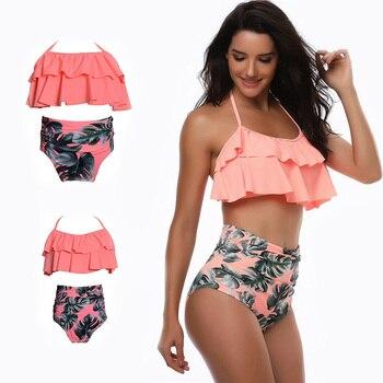 798a72b22c Conjunto de Bikini de cintura alta con volantes 2 piezas traje de baño para madre  e hija traje de baño Bikinis familia trajes a juego