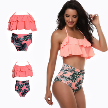 ebcbd052a Las mujeres chica cintura alta Bikini volantes 2 piezas traje de baño para  la madre y la hija bañador Bikinis familia juego trajes mira