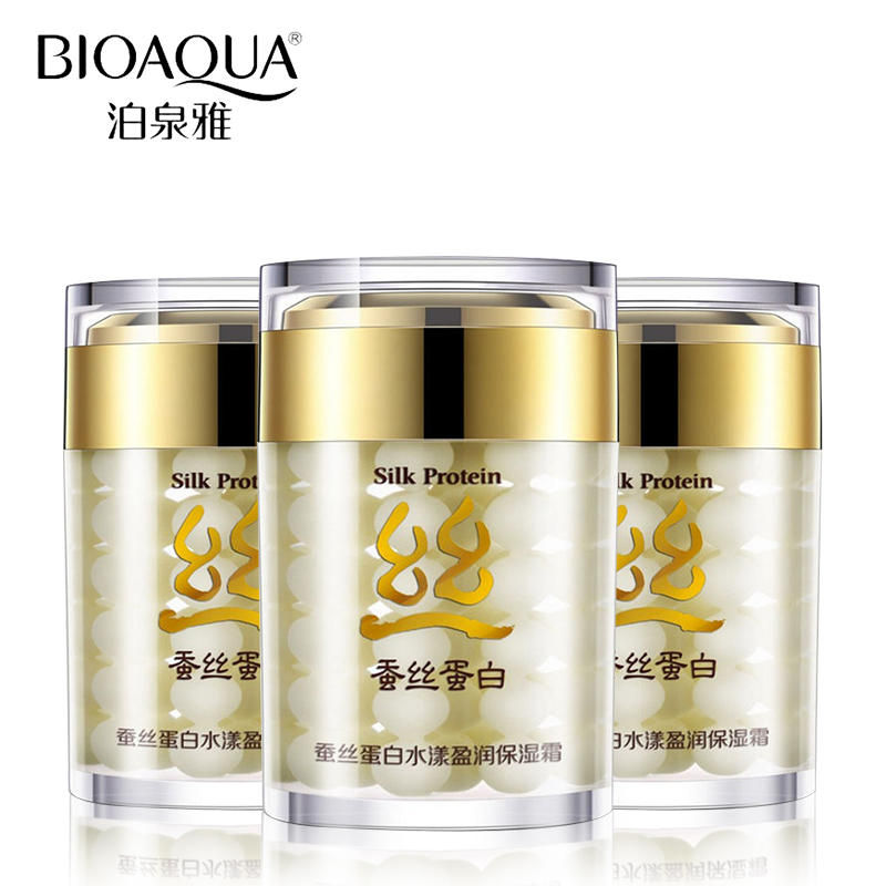 Bioaqua Silk Protein Deep Moisturizing Shrink Pores Skin Care Anti Wrinkle Cream Face Care Whitening Face Cream 4pcs set skin care set shrink pores moisturizing anti aging anti wrinkle eye cream lotion toner cleanser whitening face cream