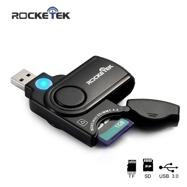 Rocketek usb 3.0 memory card reader adapter for SD TF micro SD for pc computer laptop accessories