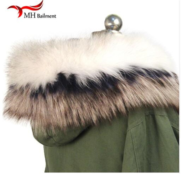 Шарф из натурального меха, пальто с меховым воротником, Женское зимнее пальто, меховые шарфы, роскошный мех енота, настоящий зимний теплый шейный платок - Цвет: F