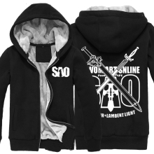 Anime SAO Sword Art Online Hoodies Zip Up Super Warm Fleece Winter Zip up Printing Pattern Sweatshirts Coats