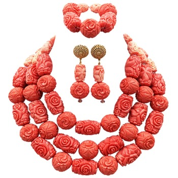Luxury Nigerian Pink Artificial Coral Beads Jewelry Set Big Coral Bead Heavy Bold Statement Bridal Necklace Set New ACB-22