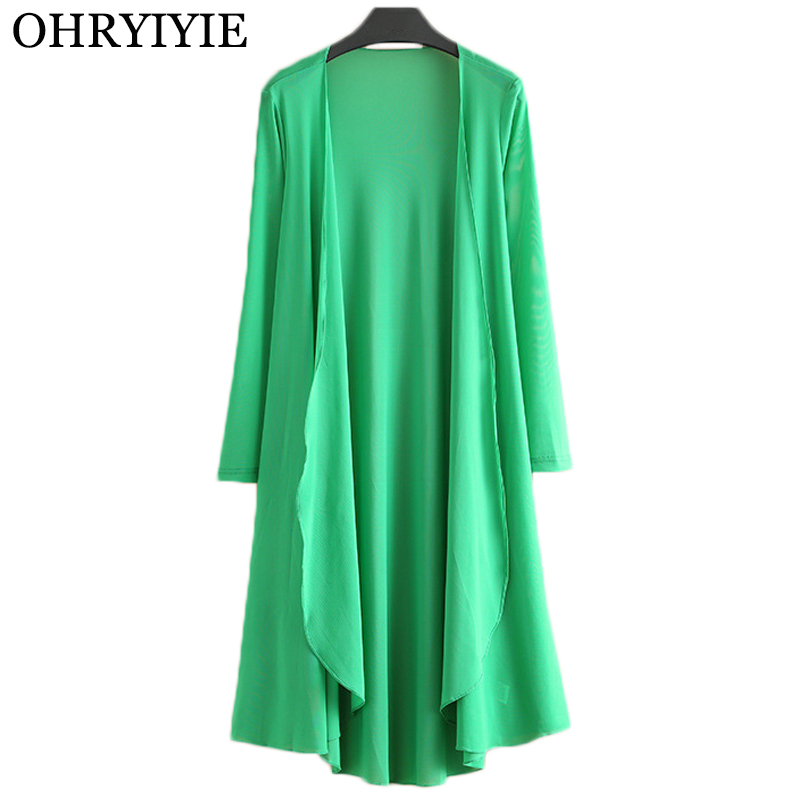 OHRYIYIE Plus Size 5XL Long Women Cardigan Sweater Poncho 2019 Summer Casual Loose Knitted Cardigans Ladies Outwear Pull Femme