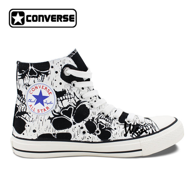 1dac12ffde2 ... italy original shoes skull patterns shoes for men design black converse  all star high canvas sneakers