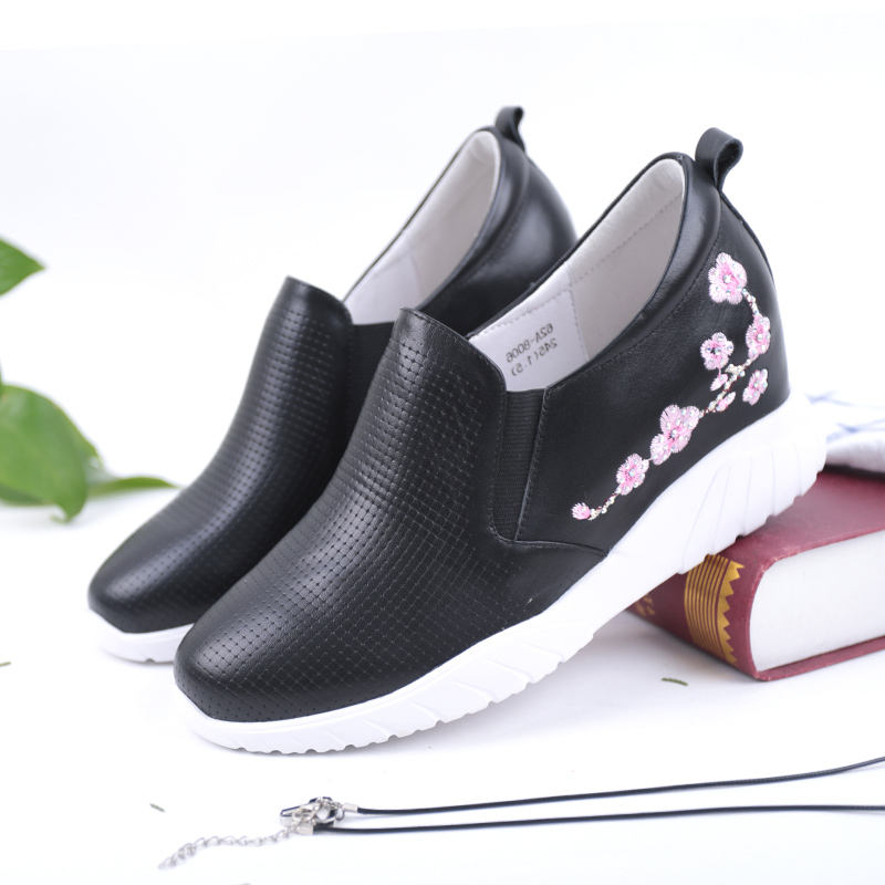 SHUANGFENG Brand New Women Wedges Platform Shoes Woman Genuine Leather Casual Shoes Print Flower Women tenis feminino Sneakers цена