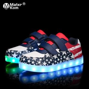 Image 1 - Size 25 35 Luminous Sneakers USB Children Shoe Boy Girl Glowing Sneakers with Luminous Sole Tennis Kids Light Up Shoes Basket