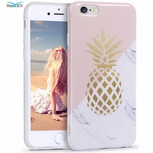 Фотография WeeYRN Hard Print Case for iPhone 7 Gold Pineapple Case for iPhone 6 6s 7 plus Silicone Soft Marble Cases Cover Fundas Coque