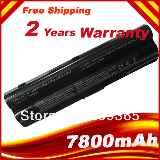 7800mAh 9 Sel Bateri Laptop Untuk Dell XPS L401x L501x L502x L701x L702x L721x J70W7 JWPHF R795X WHXY3 R4CN5