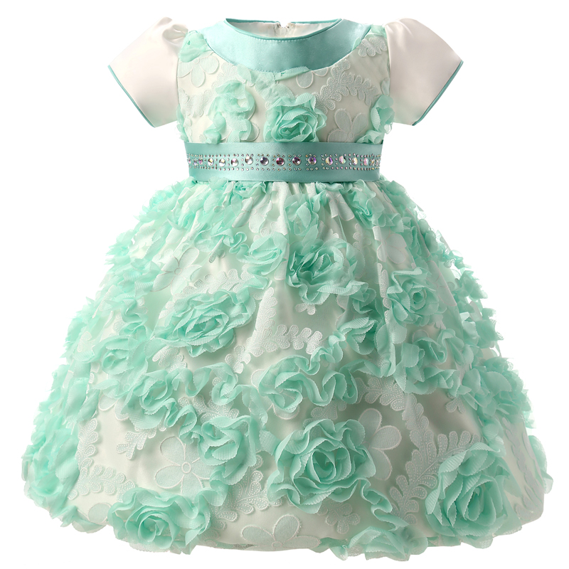 Brand Baby Girl Dress Fancy Flowers Little Princess Girl