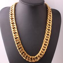 Granny Chic 7-40 Gold Filled 316L Stainless Steel Double Curb Cuban Link Chain Miami Necklaces for Men Jewelry
