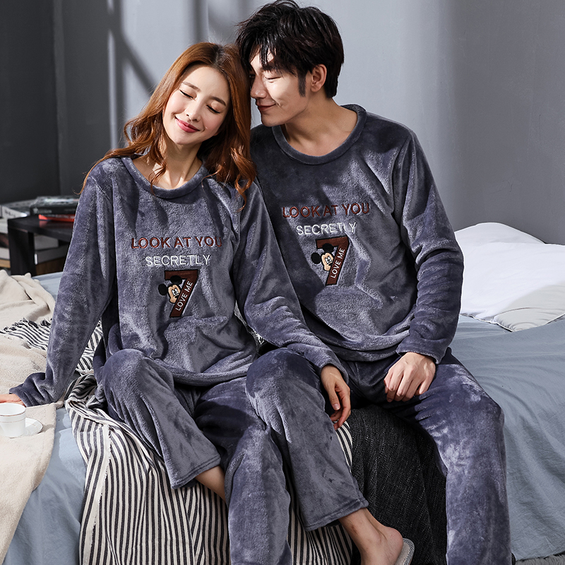 Winter Couple Cartoon Coral Velvet Pajamas Set Women Long Sleeve Plus Thick Warm Flannel Large Size Pyjamas Sets Home Suits 1801