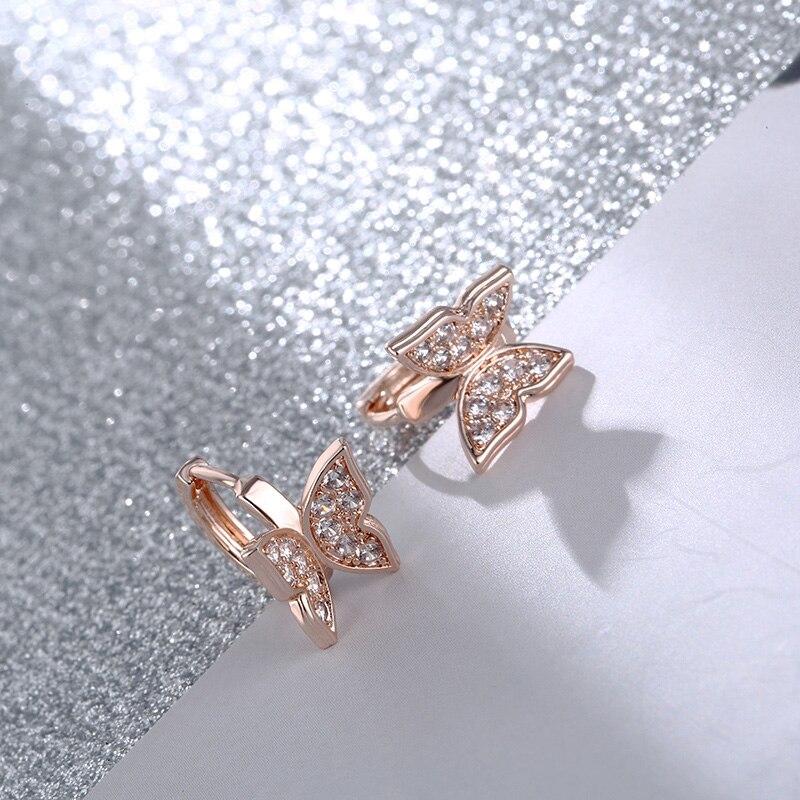 CARSINEL Brand New Butterfly Earrings Copper Gold Color Cubic Zircon Hoop Earrings For Women Butterfly Ear Earring ER0537
