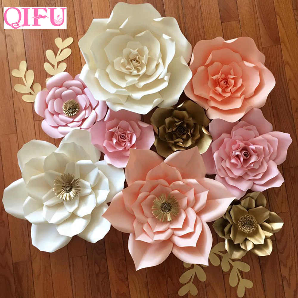 diy giant paper flowers backdrop artificial handmade paper rose 4pcs leaves 3pcs wedding  u0026 party