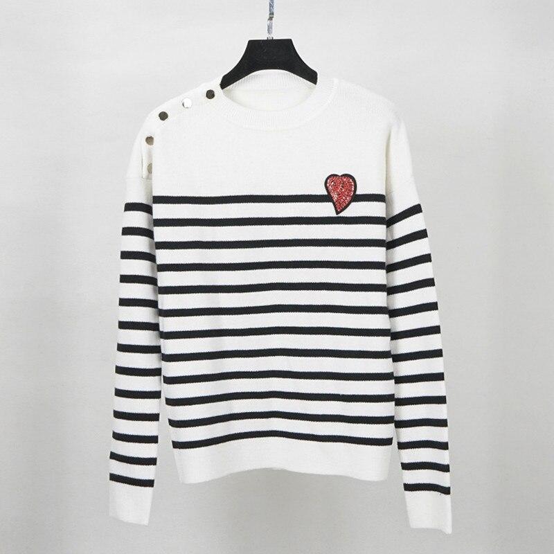 Pull en laine à rayures pull avec bouton pour femmes chaud épais marque de luxe chandail tricoté tricots 2018 haute qualité